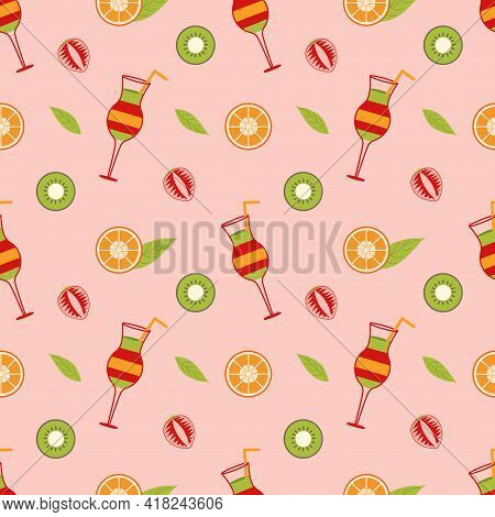 Background With Mix Cocktail And Slices Of Orange, Strawberry, Kiwi And Leaf On A Pink Background. K