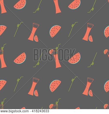 Illustration With Watermelon Cocktail And Slices Of Watermelon On A Gray Background. Seamless Vector