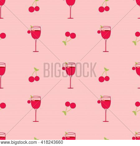 Illustration Depicting A Cocktail With Cherries And A Green Leaf On A Pink Background. Seamless Vect