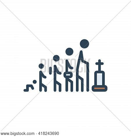 Color Illustration Icon For Life Age Person Human Death Generation Process Cycle Age