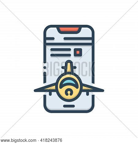 Color Illustration Icon For Reservation Reserve Private Booked Travel Air-ticket App