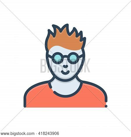 Color Illustration Icon For Smart Clever Slick  Crafty Cunning Leery Devious