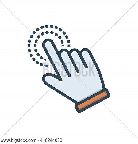 Color Illustration Icon For Hand-cursor Hand Cursor Finger Pointer Touchscreen