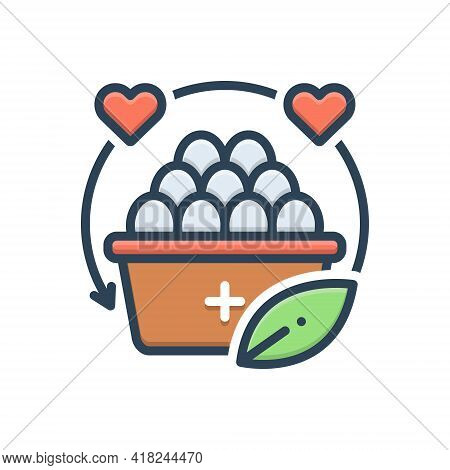 Color Illustration Icon For Nutrition Nourishment Alimental Alimentary Alimentation Healthy Diet