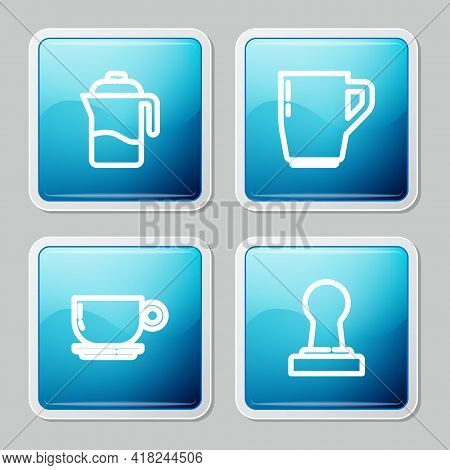 Set Line French Press, Coffee Cup, And Tamper Icon. Vector
