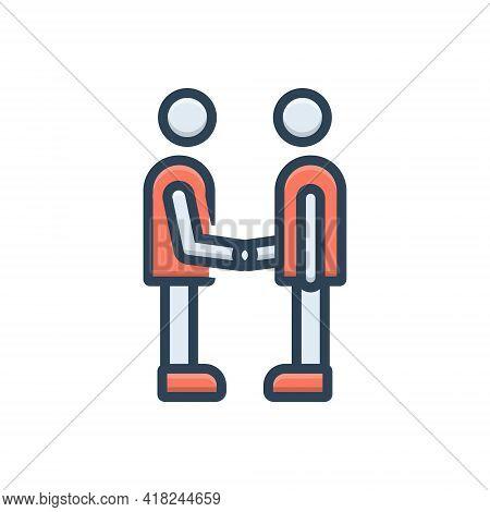 Color Illustration Icon For Partner Fellow Companion Friend Buddy Dost Handshake