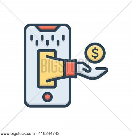 Color Illustration Icon For Trade Business Merchandise Commerce Market