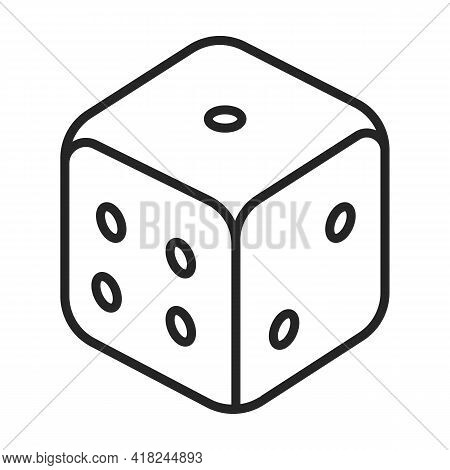 Dice Vector Outline Icon. Vector Illustration Cube Game On White Background. Isolated Outline Illust