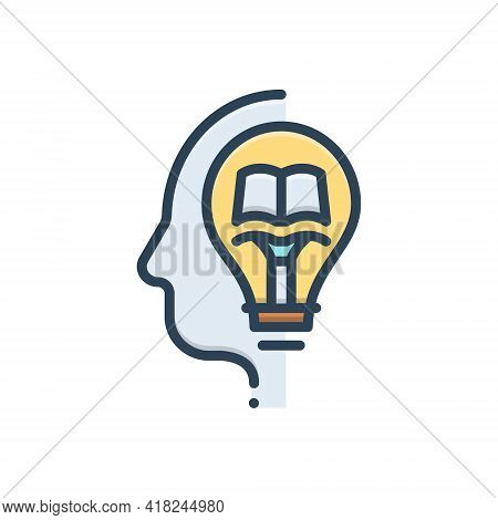 Color Illustration Icon For Knowledge Knowing Wit Intelligence Intellect Sense Gyaan
