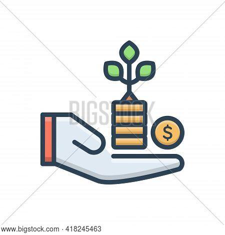 Color Illustration Icon For Benefit Advantage Profit Gain Mileage Avail Opportunity