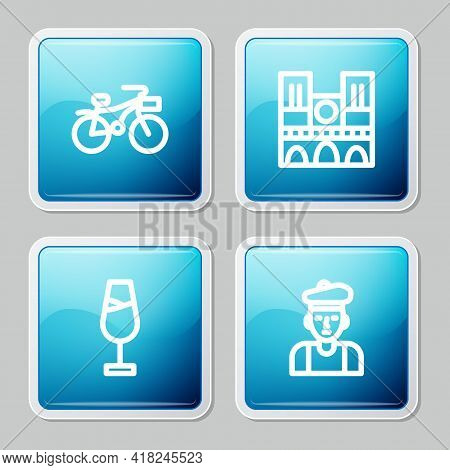 Set Line Bicycle, Notre Dame, Wine Glass And French Man Icon. Vector