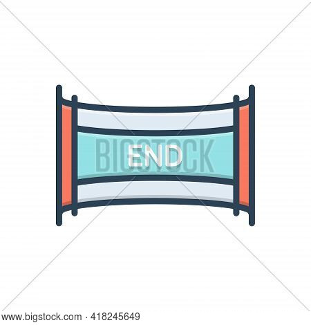 Color Illustration Icon For End Ending Conclusion Finish Closing Cessation