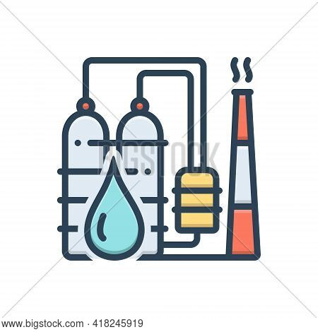 Color Illustration Icon For Petrochemical  Refinery  Industry Oil-plant Drop Petro Manufacturing