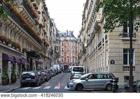 Paris, France, June 20: Densely Parked Cars On One Of The Streets Of The City On June 20, 2012 In Pa