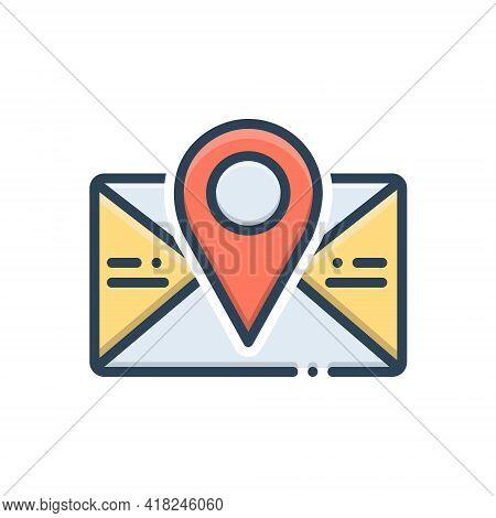 Color Illustration Icon For Postcode Poatal Pincoad Letter Massage Email Location Address Communicat