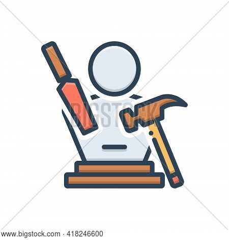 Color Illustration Icon For Sculpting Art Handcraft Hammer Hobby Creative