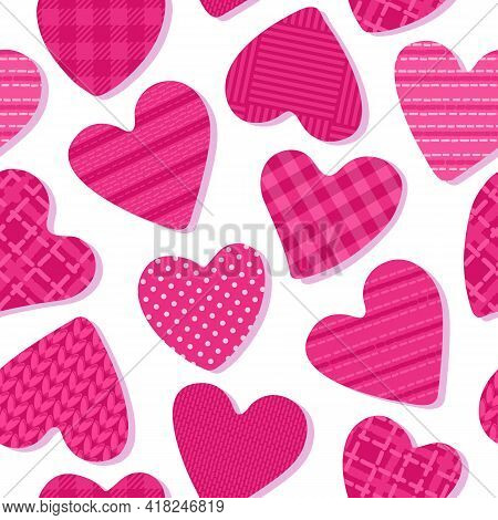 Hearts With The Texture Of Cells, Polka Dots, Fabrics. Seamless Pattern Girly Abstract Surface Desig