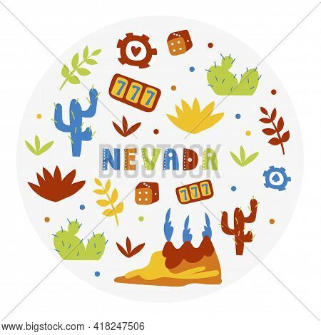 Usa Collection. Vector Illustration Of Nevada Theme. State Symbols