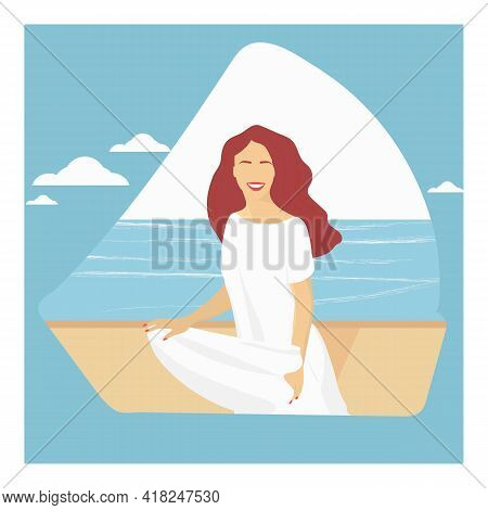 Portrait Of A Woman. A Girl With Loose Hair In A White Dress On The Background Of The Sea. Summer Ve