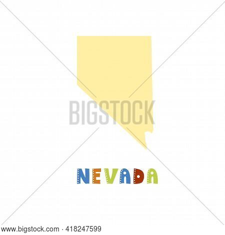 Usa Collection. Map Of Nevada - Yellow Silhouette
