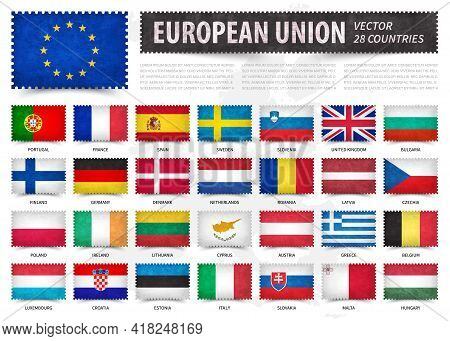 European Union . Eu . And Membership Country Flag . Stamp Shape With Grunge Paper Texture . White Is