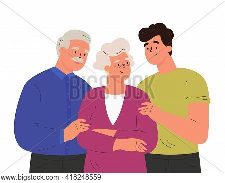 Portrait Of Happy Family Hugging Each Other. Adult Man Embracing Mature Parents Or Grandparents Isol