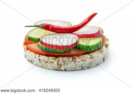 Sandwich Of Diet Bread With Slices Of Radish Cucumber Tomato Red Pepper Isolated On White Background