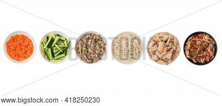 Asian Wok Noodles On White Background. Wok Noodles Close-up, Top View. A Set Of Products For Making