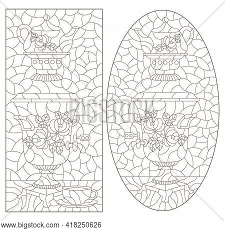 Set Of Contour Illustrations In The Style Of Stained Glass With Russian Samovars And Teapots, Dark O