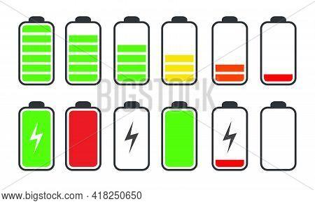 Phone Battery Charge Status Flat Symbols Set
