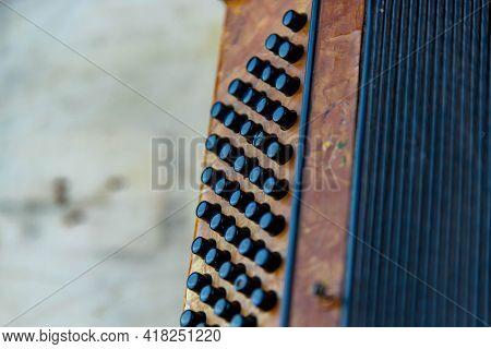 Old Accordion Double Bass Mechanism Closeup