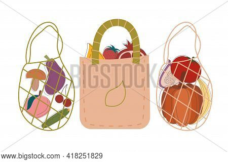 Zero Waste, Set Bag Products Made Natural Materials Isolated White Background. Recycling Garbage, Na