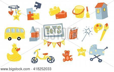 Toys Doodle Icons In Flat Style. Baby And Kids Toy. Icons For Baby Shop. Type Of Toys. Flat Design.
