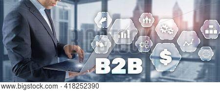 B2b Icon On Virtual Screen On Modern City Background