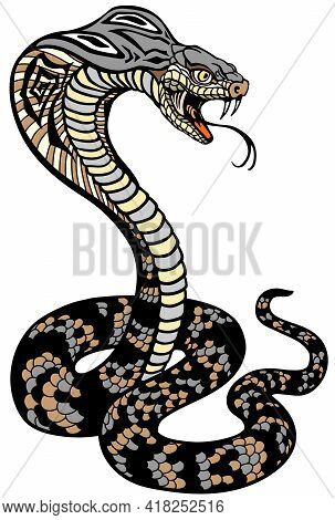 Cobra Poisonous Snake In A Defensive Position. Attacking Posture. Tattoo Style Vector Illustration