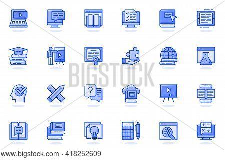 Online Education Web Flat Line Icon. Bundle Outline Pictogram Of Online Tutorials, Training Courses,