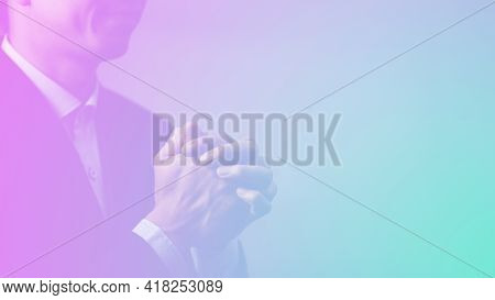 Man's Hand Praying And Worship To God Using Hands To Pray In Religious Beliefs And Worship Christian