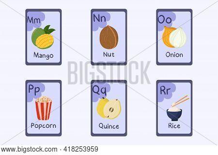 Colorful Alphabet Flashcard Letter M, N, O, P, Q, R - Mango, Nut, Onion, Popcorn, Quince, Rice. Food
