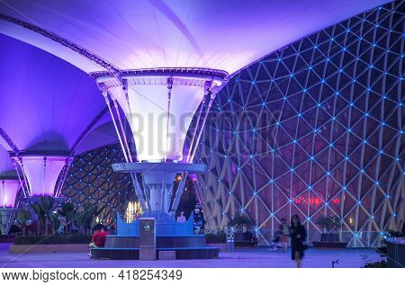 Shanghai, China. October 6, 2015. Purple Lights Illuminating The Structural Supports Inside The Shan