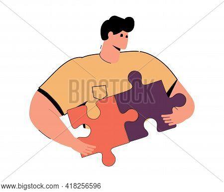 Problem-solving, Cute Cartoon Man Connecting Puzzle Pieces. Product Management, Challenge, Problem-s