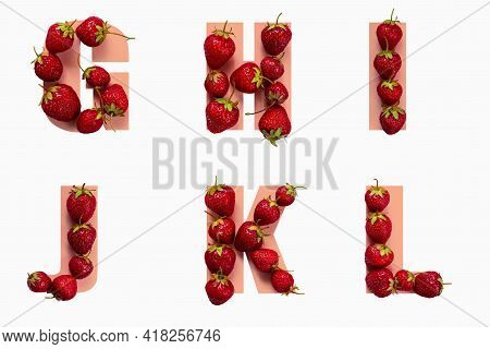 Alphabet Letters With Strawberries In The Form Of Letters G H I J K L