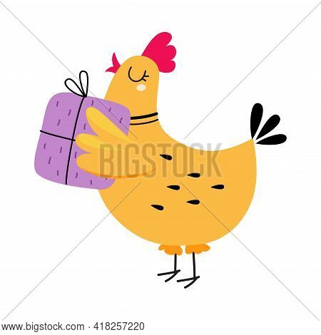 Happy Birthday Concept, Adorable Hen Bird Holding Present Box, Baby Shower Celebration Element Carto