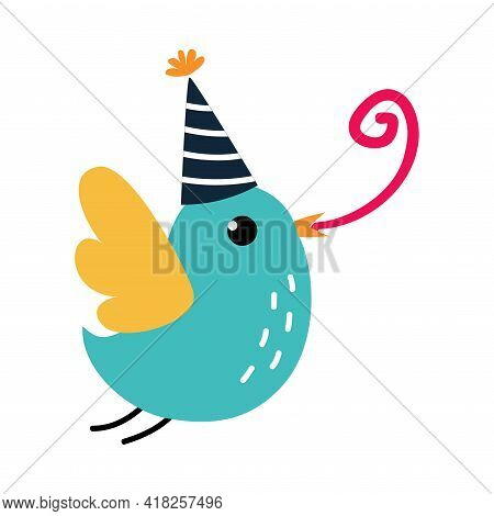 Happy Birthday Concept, Adorable Bird In Party Hat Flying With Party Blower Whistle, Baby Shower Cel