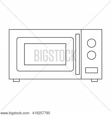 Microwave Vector Outline Icon. Vector Illustration Oven Kitchen On White Background. Isolated Outlin