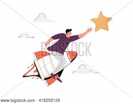 Businessman On A Rocket Trying To Touch The Stars. Achieve The Goal, Ambition Task, Trend, Successfu