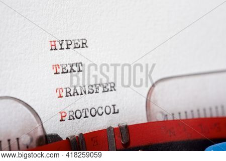 Hyper text transfer protocol phrase written with a typewriter.