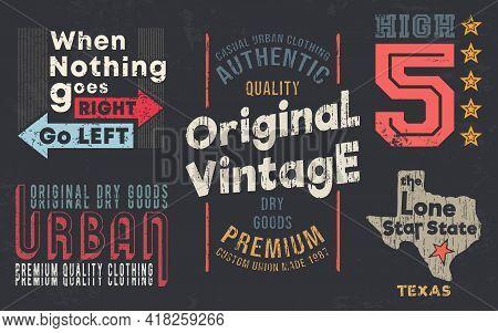 Vintage Design Print For T-shirt Stamp, Tee Applique, Fashion Typography, Badge, Label Clothing, Jea