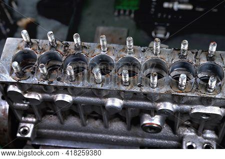 Dismantling The Fuel Pump For Repair. Repair Of Diesel Fuel Pump Of 8-cylinder Engine. Car Repair In