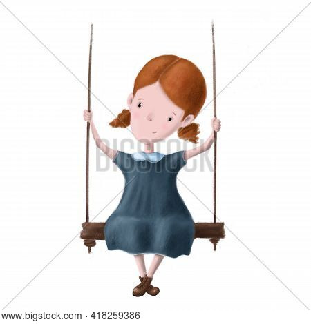 Cute Little Girl On The Swing Clipart, Hand Drawn Children's Illustration With Cartoon Character, Go