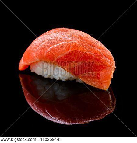 Sushi Syake With Salmon On A Black Background